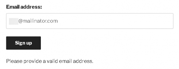 Sample output for MailChimp Contact Form