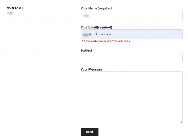 Sample output for Contact Form 7